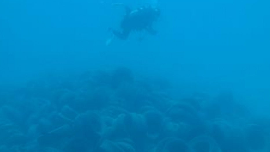 A pile of tires underwater