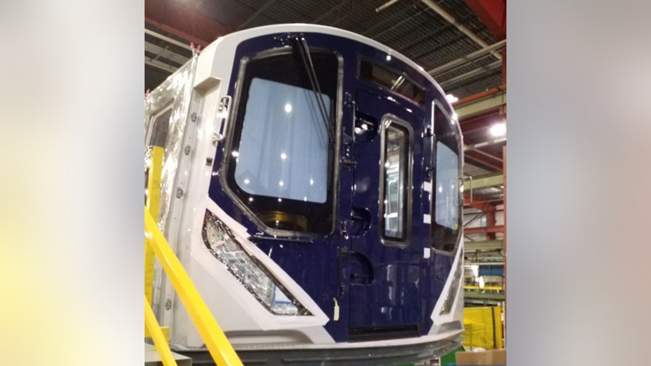 An exterior look at the R211 subway car