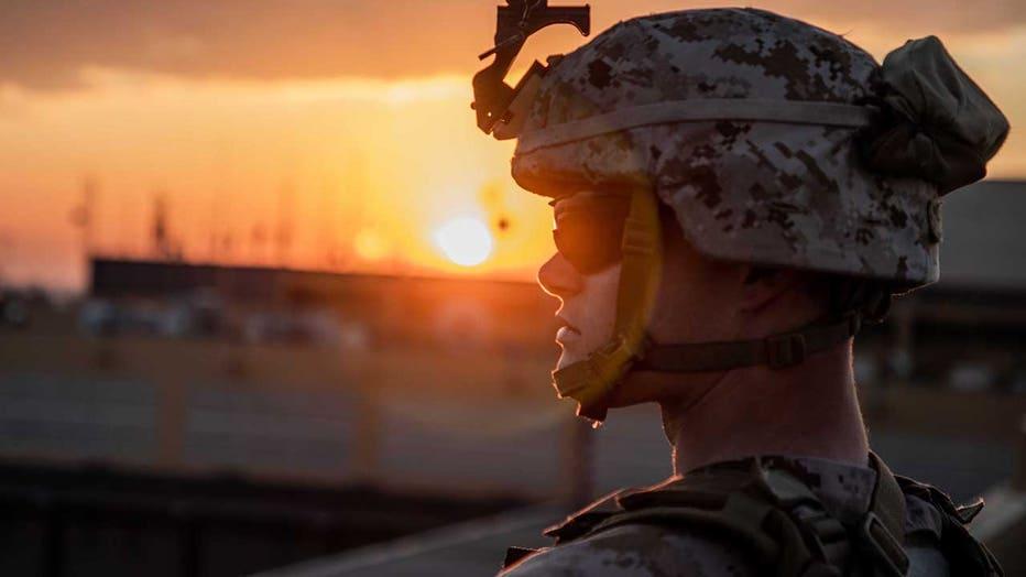 Marine on duty at U.S. Embassy