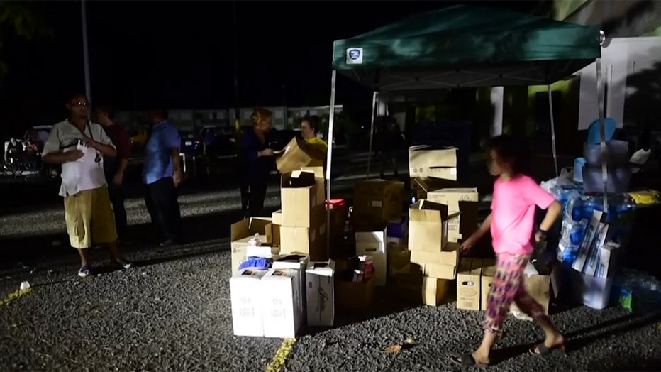 Boxes of supplies for displaced residents