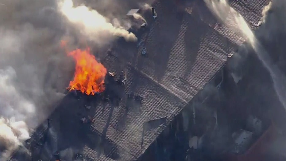 Aerial view of residential fire