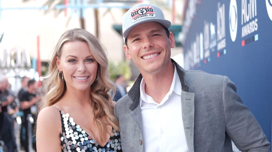 Amber Bartlett and Granger Smith attend the 54th Academy Of Country Music Awards at MGM Grand Hotel & Casino on April 07, 2019 in Las Vegas, Nevada.