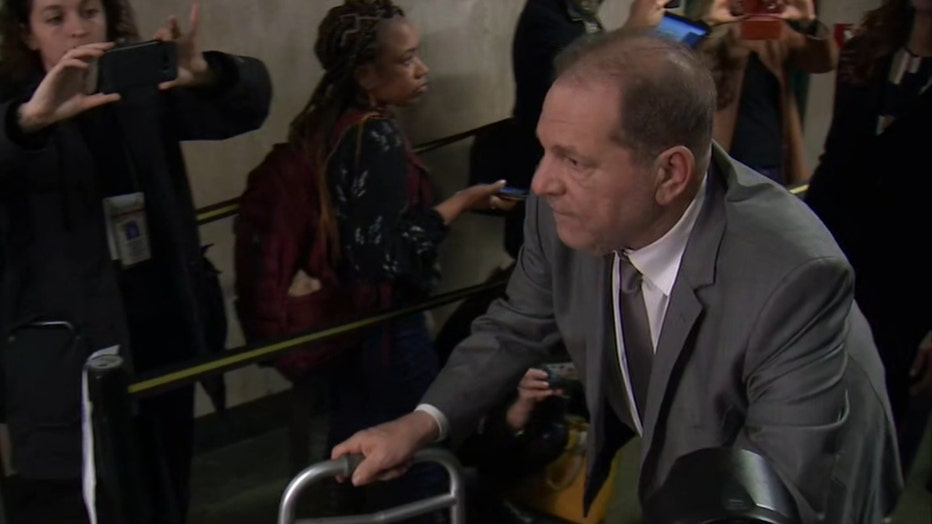Harvey Weinstein uses a walker inside a Manhattan courthouse