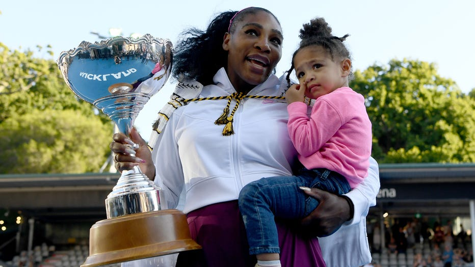 Serena Williams of the USA celebrates with daughter Alexis Olympia after winning the final match against Jessica Pegula of USA at ASB Tennis Centre on Jan. 12, 2020 in Auckland, New Zealand. (Photo by Hannah Peters/Getty Images)