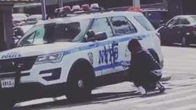 Man tags NYPD vehicle parked in the Bronx