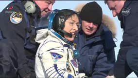 Record-setting astronaut returns to Earth from International Space Station