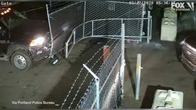 Video: Truck thief rams tow yard gate, slams into worker