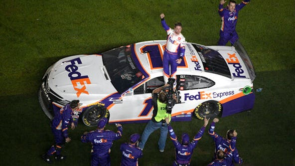 Hamlin wins 3rd Daytona 500; Newman hospitalized