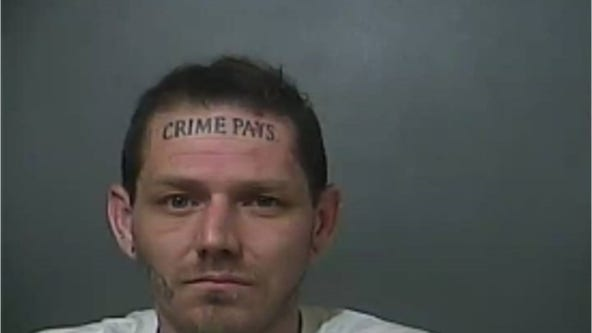 Indiana man with 'Crime Pays' forehead tattoo faces new arrest