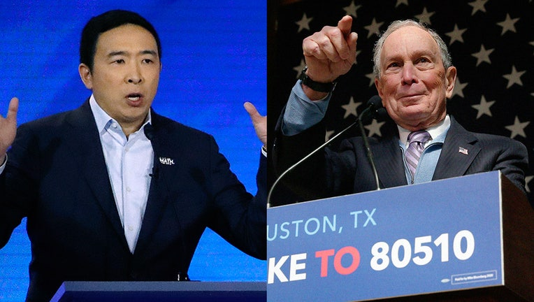 Andrew Yang and Mike Bloomberg speaking