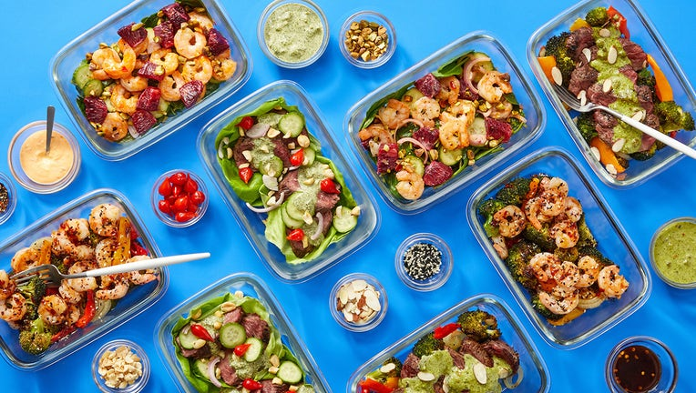 Overhead view of meals in containers