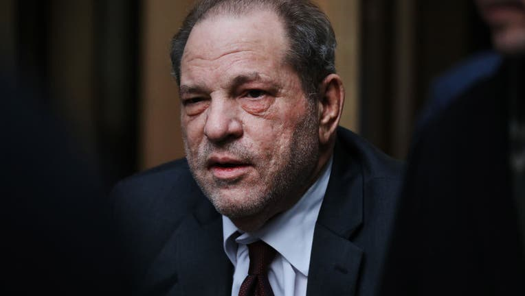 Harvey Weinstein exits a Manhattan courthouse as a jury continues with deliberations in his trial on Feb. 20, 2020 in New York City.