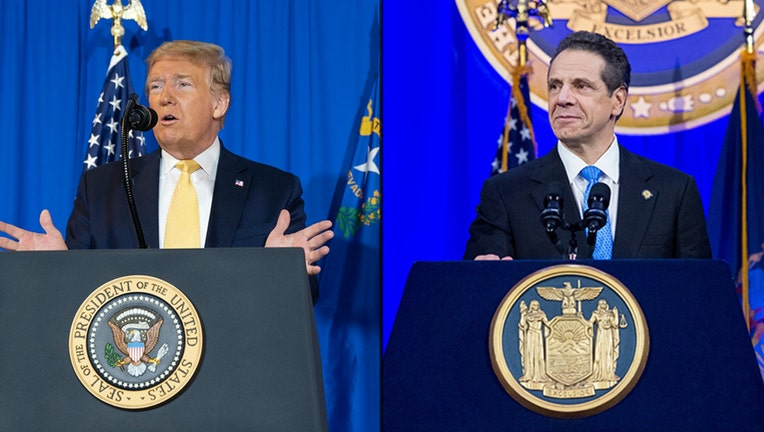 Donald Trump and Andrew Cuomo standing behind lecterns