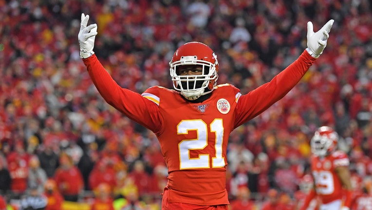 KANSAS CITY, MISSOURI - JANUARY 12: Defensive back Bashaud Breeland #21 of the Kansas City Chiefs celebrates in the second half during the AFC Divisional playoff game against the Houston Texans at Arrowhead Stadium on January 12, 2020 in Kansas City, Missouri. (Photo by Peter G. Aiken/Getty Images)
