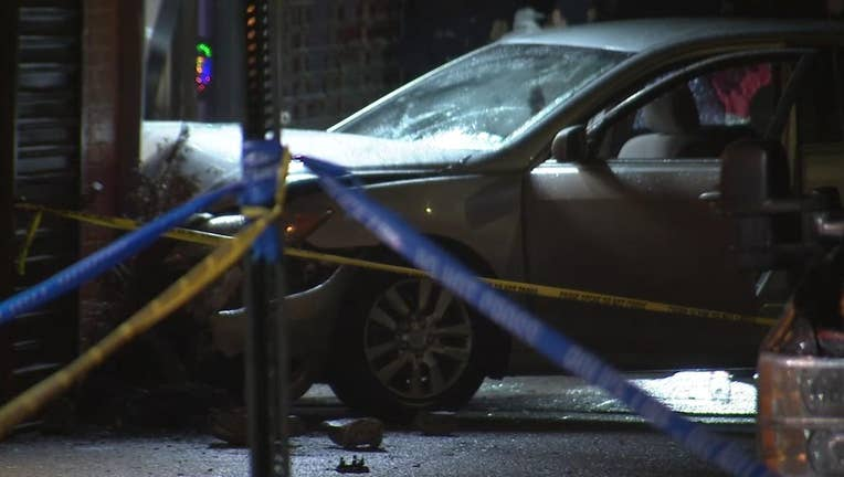 A car crashed into a storefront