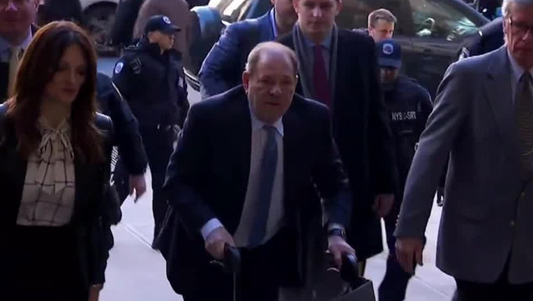 Harvey Weinstein uses a walker to arrive in court