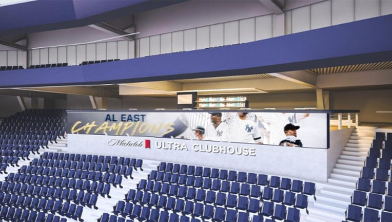 A rendering of one of the new social gathering areas in Yankee Stadium.