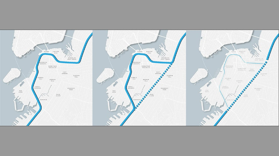 The conceptual phasing of the current Brooklyn-Queens Expressway, the construction of a tunnel that would bypass Downtown Brooklyn, and the removal of existing infrastructure.