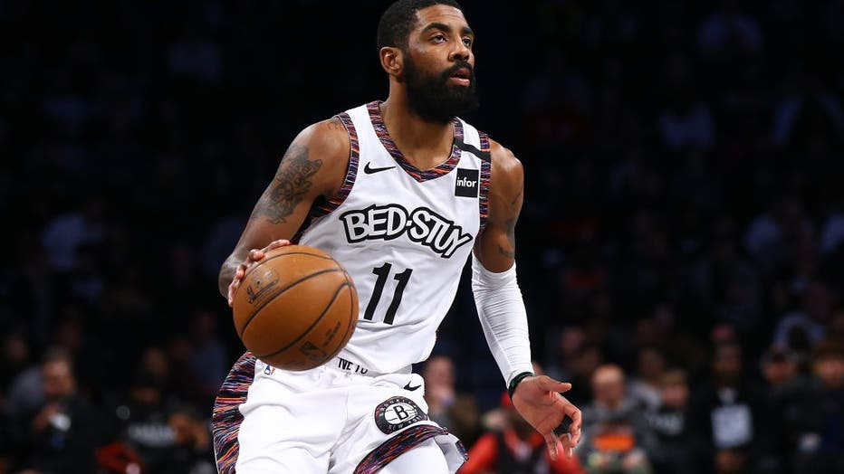 Kyrie Irving #11 of the Brooklyn Nets in action against the Chicago Bulls at Barclays Center on January 31, 2020 in New York City. (Photo by Mike Stobe/Getty Images)