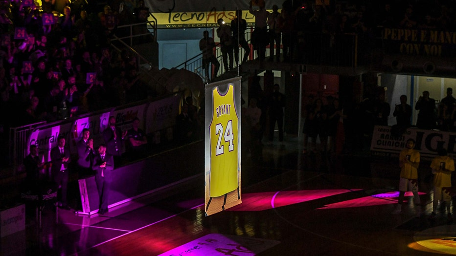 Kobe Bryant's jersey is lifted to the rafter in PalaSojourner
