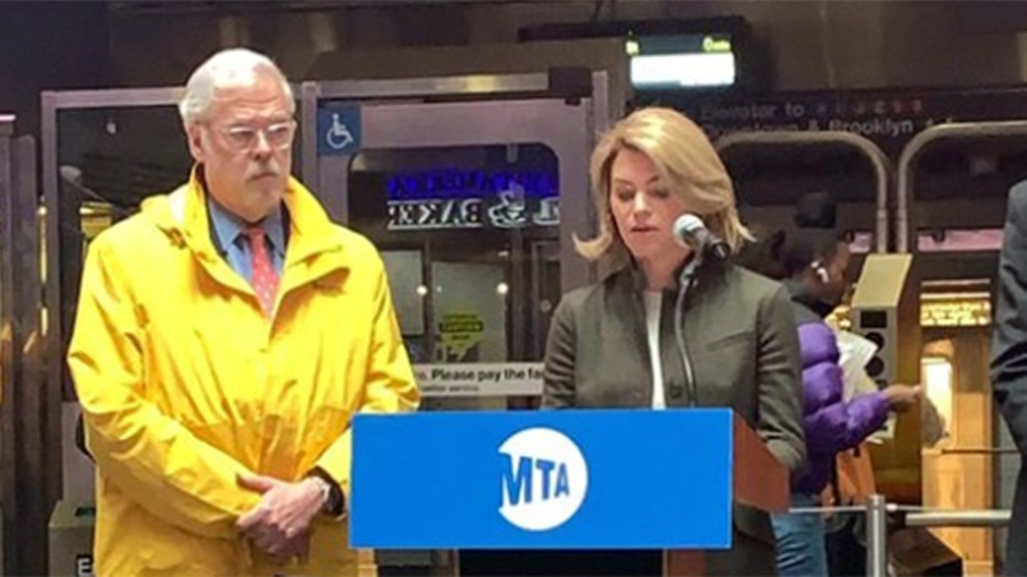 New York City Transit interim president Sarah Feinberg speaks at lecturn