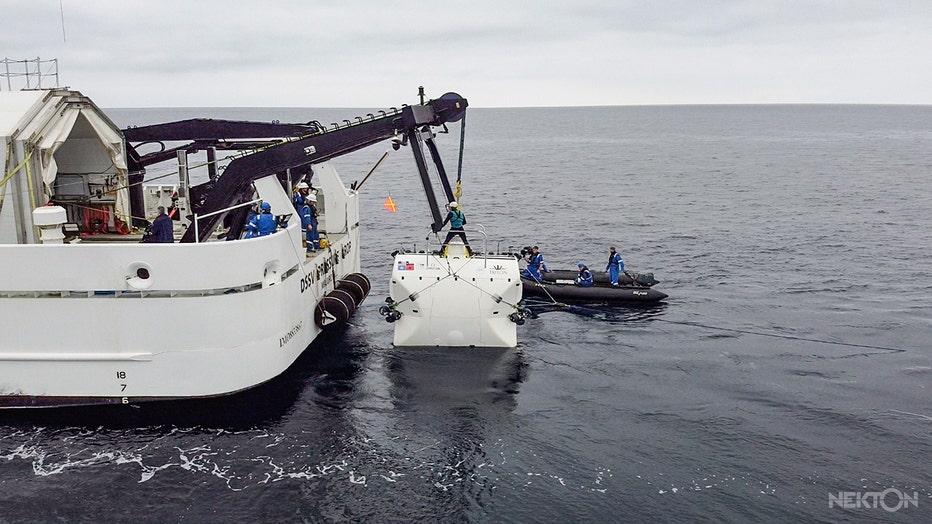 Submarine on a crane