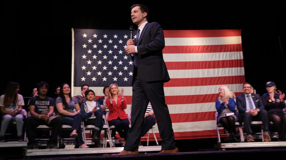 Democratic presidential candidate, South Bend, Indiana Mayor Pete Buttigieg greets supporters on Feb. 4, 2020 in Concord, New Hampshire. (Photo by Spencer Platt/Getty Images)