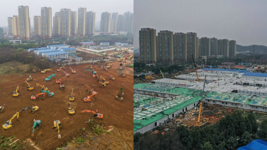 Built in 10 days, these are before and after photos of Huoshenshan Hospital in Wuhan, China. The hospital will treat patients diagnosed with the coronavirus. (Photos via Getty Images)