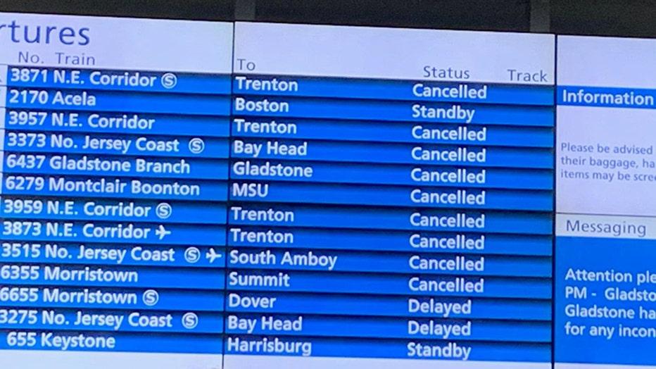 NJ Transit departure board