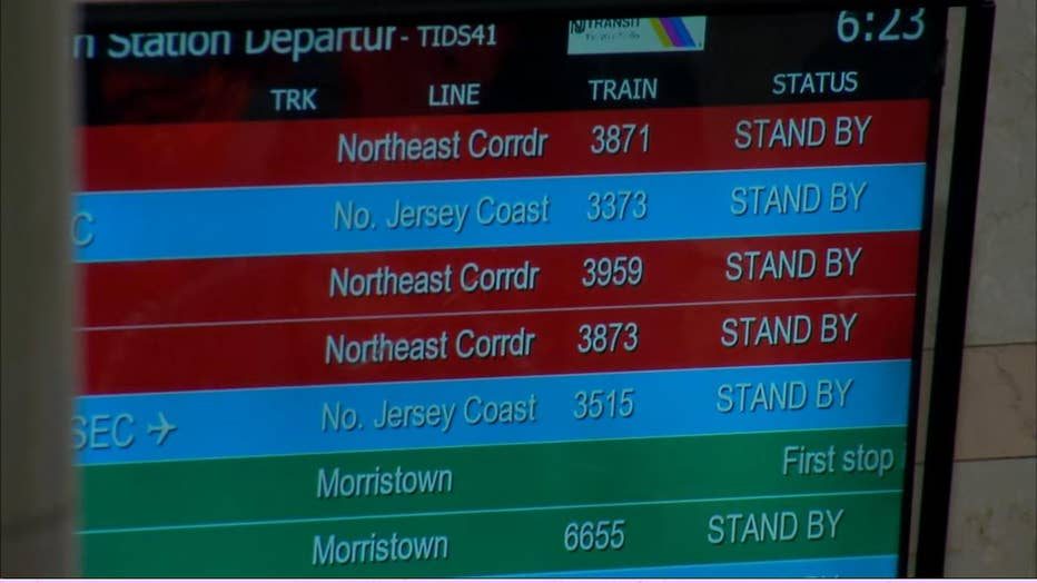 NJ Transit departure screen