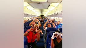 Photo of health care workers flying to help NYC gets love