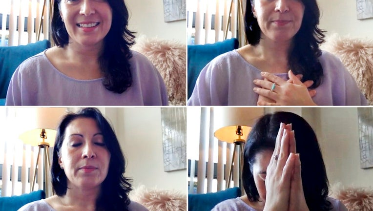 Images of Donna Borak looking into a webcam and leading a meditation session