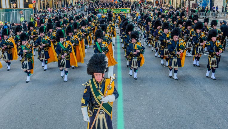 A marching band marches in the New York City Saint Patrick's Day Parade