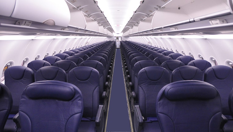 The interior of a Spirit Airlines Airbus A320