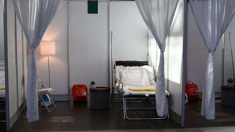 A temporary hospital bed set up in the Jacob Javits Convention Center