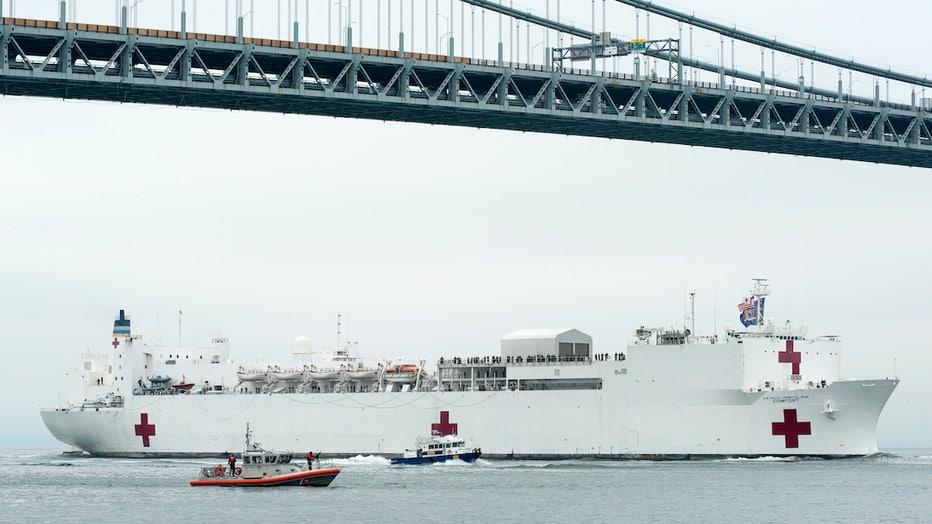 Navy hospital ship passing under Verrazzano-Narrows Bridge