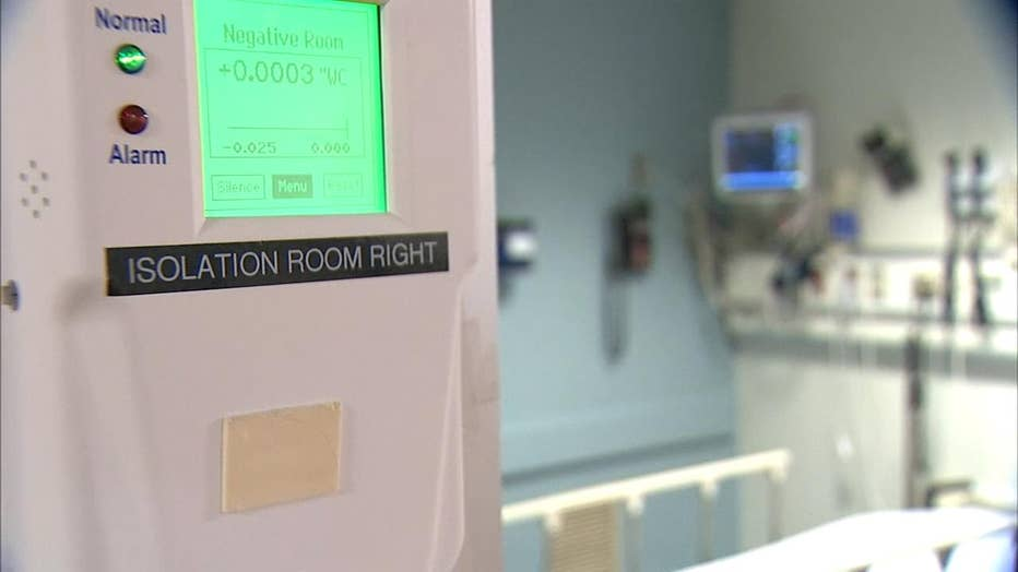 An isolation room at a hospital