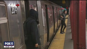 Despite social distancing guidelines, some New Yorkers still riding crowded subway trains