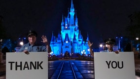 Cinderella's Castle lit up in blue to honor health care workers