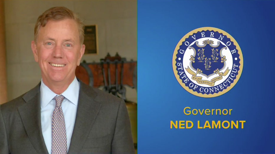 Gov. Ned Lamont headshot and Connecticut state seal