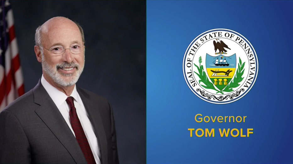 Gov. Tom Wolf headshot and Pennsylvania state seal