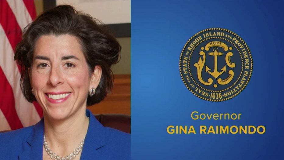 Gov. Gina Raimondo headshot and Rhode Island state seal