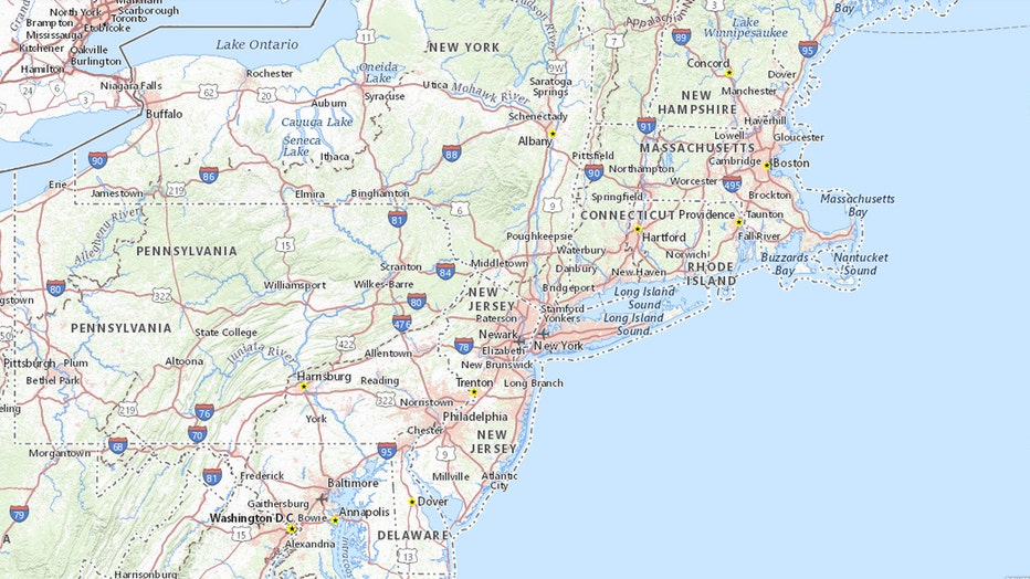 A map showing several states in the northeastern United States