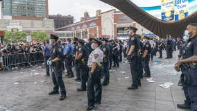 NYPD officers attacked with bricks, bottles, Molotov cocktail during George Floyd protest