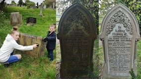 Family pays respects to dead by cleaning gravestones on daily walks under pandemic lockdown