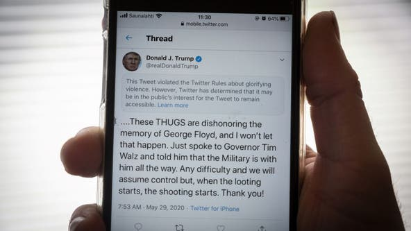 Trump slams rioters as 'thugs' while Twitter posts warning to President's message