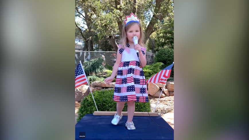 'She loves to sing and loves our country': 3-year-old sings sweet rendition of 'God Bless America'