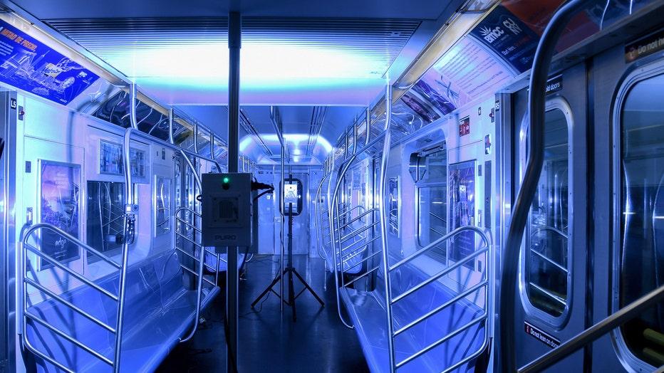 UV lamp shines inside a subway car