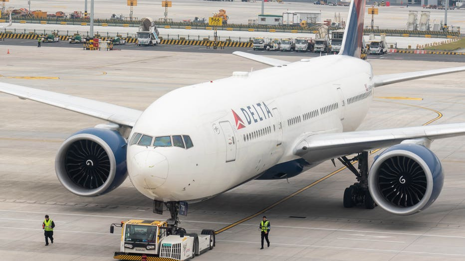 Delta Airlines Boeing 777-200LR aircraft seen at Shanghai