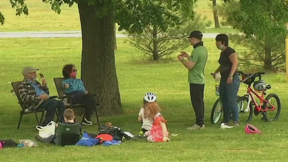 A gathering at a park